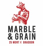 Marble and Grain Logo black and red