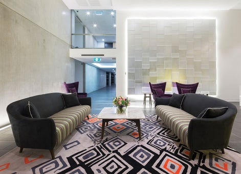 A picture of the lobby at Avenue Hotel located on Northbourne Avenue