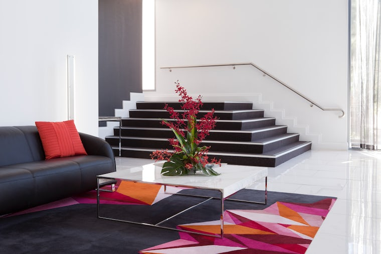 Picture of comfortable stylish entrance to Aria Hotel located on Dooring Street in Dickson, Canberra