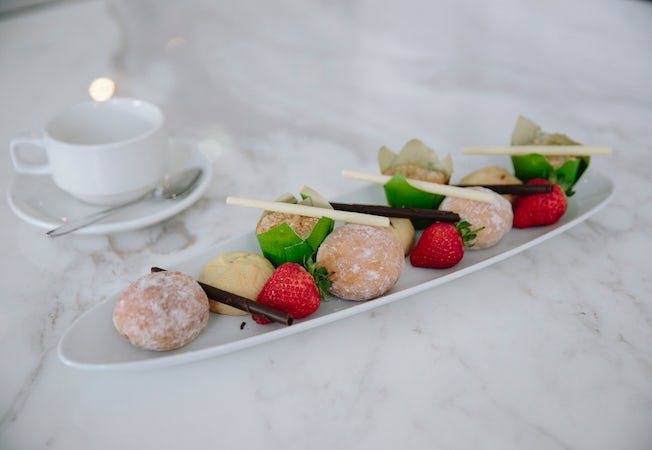 A picture of an arrange dessert located at Aria Cafe at Aria hotel Canberra CBD