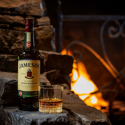 King O'Malleys fireplace with whiskey
