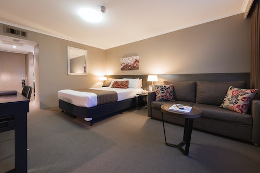 A picture of a modern one bedroom hotel room in capital hotel group in Canberra CBD