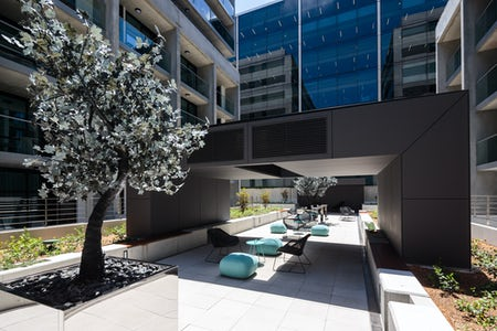 Picture of the outdoor courtyard at the Avenue Hotel located in Braddon