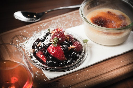 A picture of a strawberry desert at Avenue Hotel on Northbourne Avenue